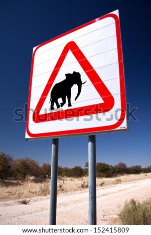 Elephant sign - stock photo