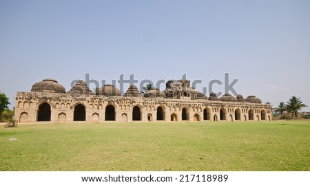 Elephant stables at Royal enclosure - Vijayanagara complex - one of the highlight of the Hampi temple complex in India