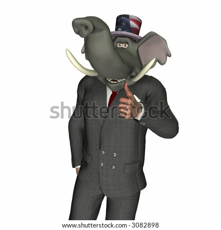 Elephant standing giving the thumbs up sign. Republican. Political humor. - stock photo