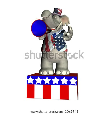 Elephant standing on a platform speaking through a megaphone. Republican. Political humor. - stock photo