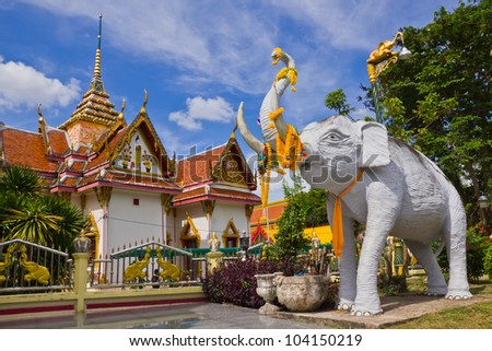 Elephant statue at wat chang hai from southern thailand