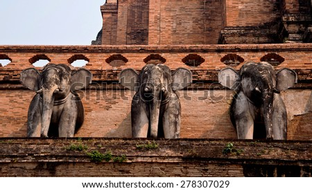 Elephant statue in thai temple - stock photo