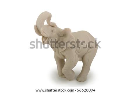 Elephant statue isolated on white - stock photo