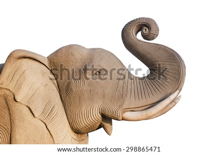 Elephant statue isolated on white background is, Readily available in Thailand  - stock photo
