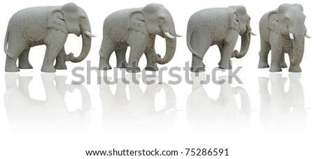 Elephant Stone four view on white background. (Clipping Path) - stock photo