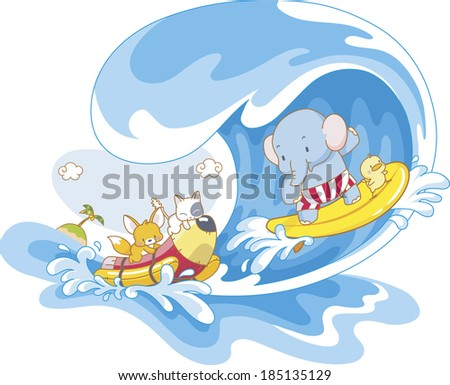 Elephant surfing and other animals riding banana boat - stock photo