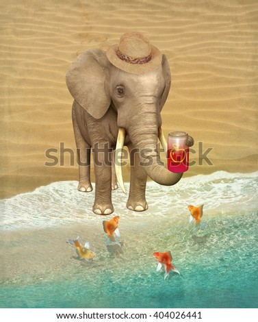 Elephant tourist with a can of apple juice and goldfish on the shore. Illustration. - stock photo