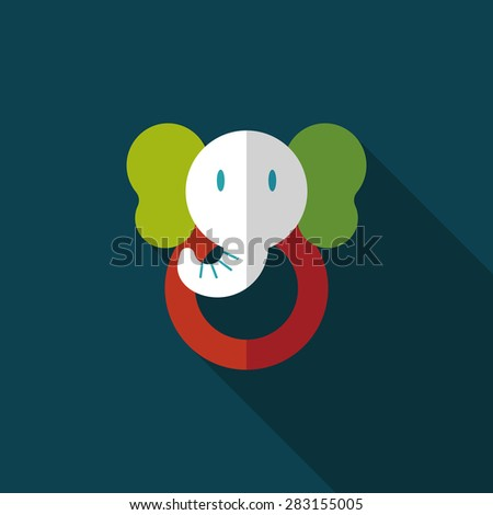 elephant toy flat icon with long shadow - stock photo