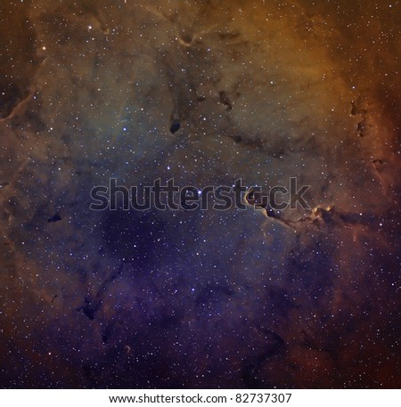 Elephant Trunk Nebula in Narrow-band - stock photo