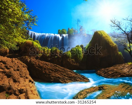 Elephant waterfall in central highland of Vietnam - stock photo