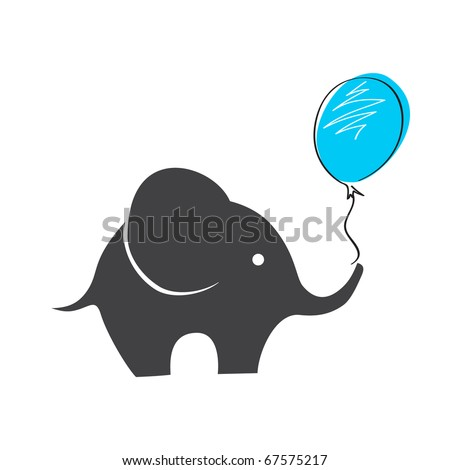 Elephant with balloon - stock photo