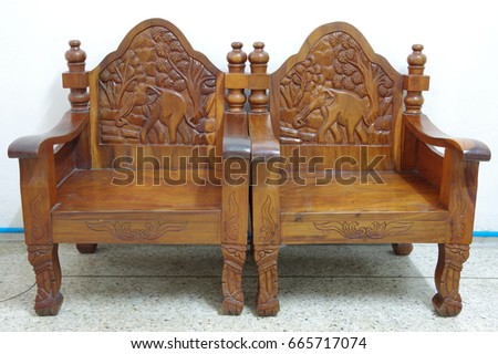 Elephant Wood Carved Wooden Chair