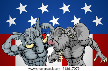 Elephants fighting, American politics election concept for party infighting or primaries, primary election of candidates