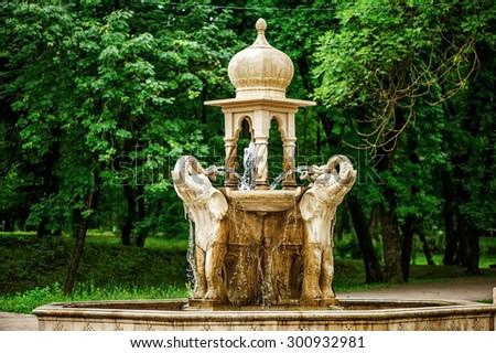 Elephants Fountain in the town of attractions in Atazhukinsky garden - park in Nalchik, Kabardino-Balkaria republic, Russia - stock photo