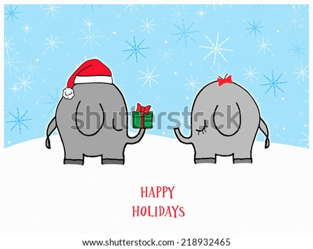 Elephants - Happy Holidays - stock photo