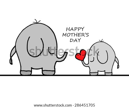 Elephants - Happy Mother's Day - stock photo