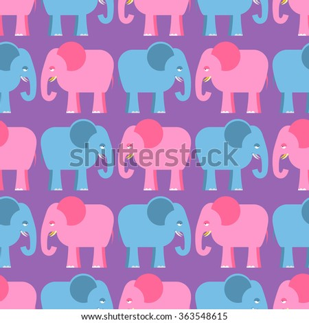 Elephants seamless pattern. Blue and pink animals of  jungle. Cute African beasts texture for childrens fabric. - stock photo