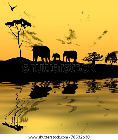 Elephants silhouetted at sunset on horizon