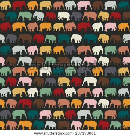 Elephants texture, seamless pattern for textile, website background, book cover, packaging. - stock photo