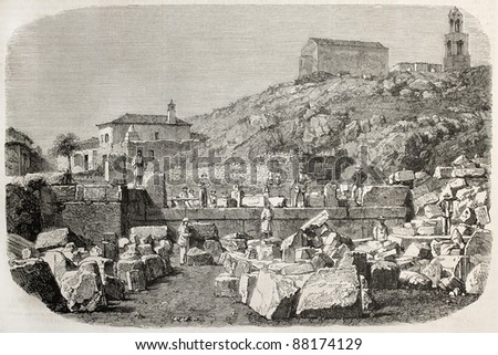 Eleusina archaeological excavation old view. Created by Freeman and Lavielle, published on L'Illustration, Journal Universel, Paris, 1860