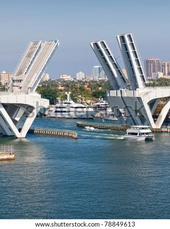 Elevated Bridge in Ft. Lauderdale, Florida - stock photo