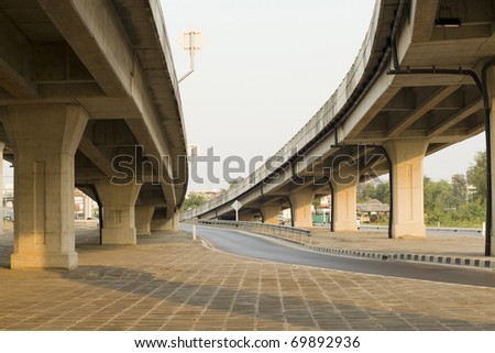 elevated express way at evening time - stock photo