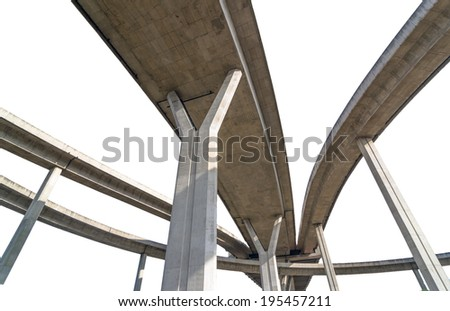 Elevated expressway,The curve of bridge, bangkok, thailand - stock photo