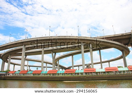Elevated expressway. The curve of suspension bridge Large elevated traffic highway in Bangkok, Thailand - stock photo