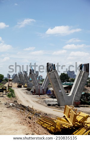 Elevated highway and it's support structure - stock photo