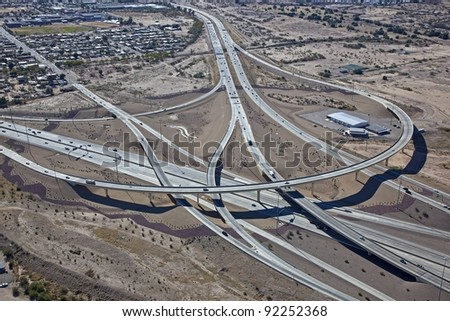 Elevated Interchange in Southern Arizona - stock photo