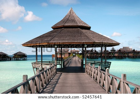 Elevated path over water in Mabul Water Resort, Malaysia