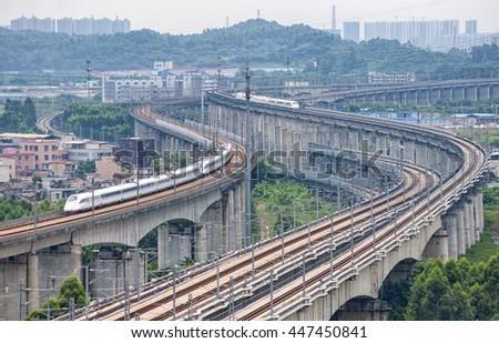 Elevated railway across the city - stock photo