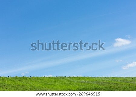 Elevated road around reservoir in clear sky day - stock photo