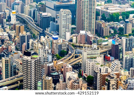 Elevated road interchange in Tokyo city centre - Japan