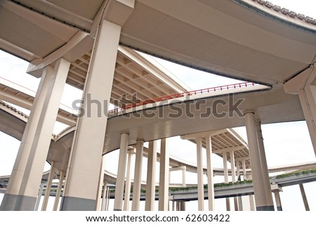 Elevated roads in Shanghai, China - stock photo