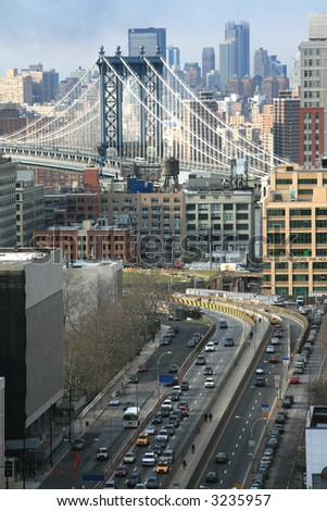 Elevated shot of the Brooklyn Bridge from Manhattan - stock photo