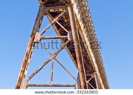 Elevated Steel Train Trestle - stock photo