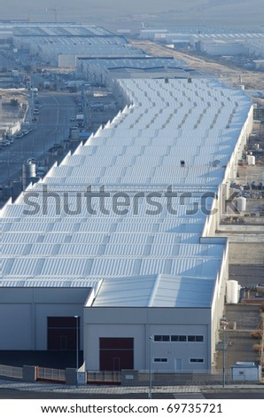 elevated view  of a new industrial zone - stock photo