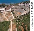 elevated view of antique theatre in Antalya Turkey - stock photo