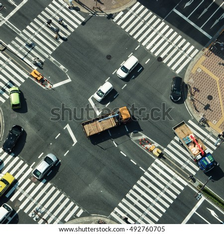 Elevated view of junction with traffic. Tokyo 2016