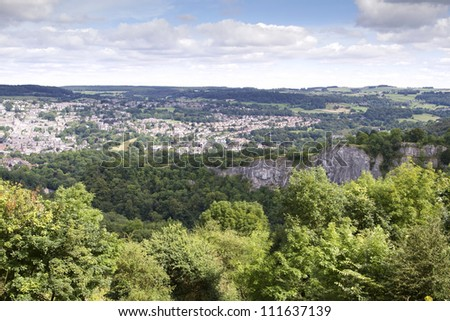 Elevated view of Matlock, Derbyshire from Heights of Abraham - stock photo