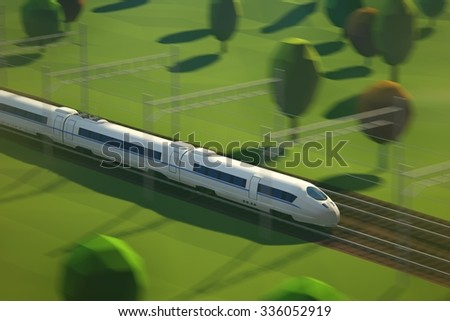 Elevated View Of Modern High Speed Passenger Train Arriving At Railway Station Platform - stock photo
