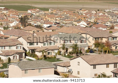 Elevated View of New Contemporary Suburban Neighborhood. - stock photo
