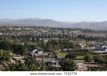 Elevated View of New Contemporary Suburban Neighborhoods. - stock photo