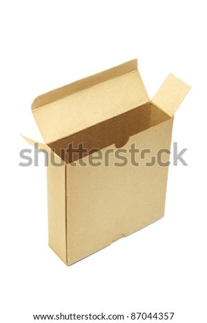 Elevated view of open and empty paper box standing on white background - stock photo