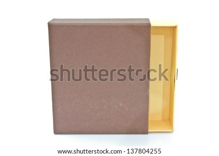 Elevated view of open empty gift box isolated