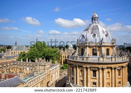 Elevated view of Radcliffe Camera and surrounding buildings, Oxford, Oxfordshire, England, UK, Western Europe. - stock photo