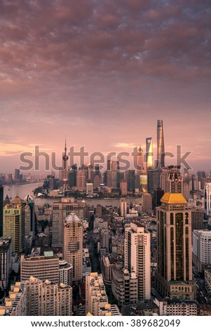 elevated view of Shanghai skyline at sunset - stock photo