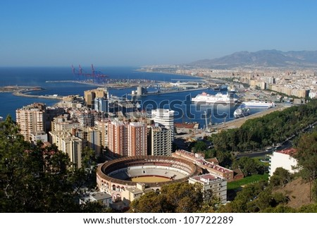Elevated view of the bullring and port area, Malaga, Costa del Sol, Malaga Province, Andalucia, Spain, Western Europe. - stock photo