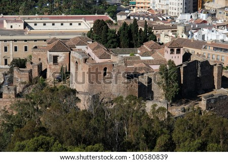 Elevated view of the citadel (Alcazaba de Malaga) from the Gibralfaro castle, Alcazaba de Malaga, Malaga, Costa del Sol, Malaga Province, Andalusia, Spain, Western Europe. - stock photo